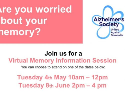 Virtual Memory Information Sessions being held by The Alzheimer's Society